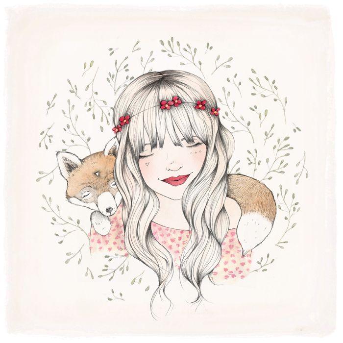 illustration fille renard