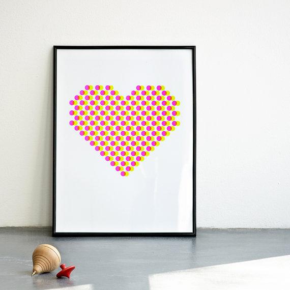 affiche coeur pixel