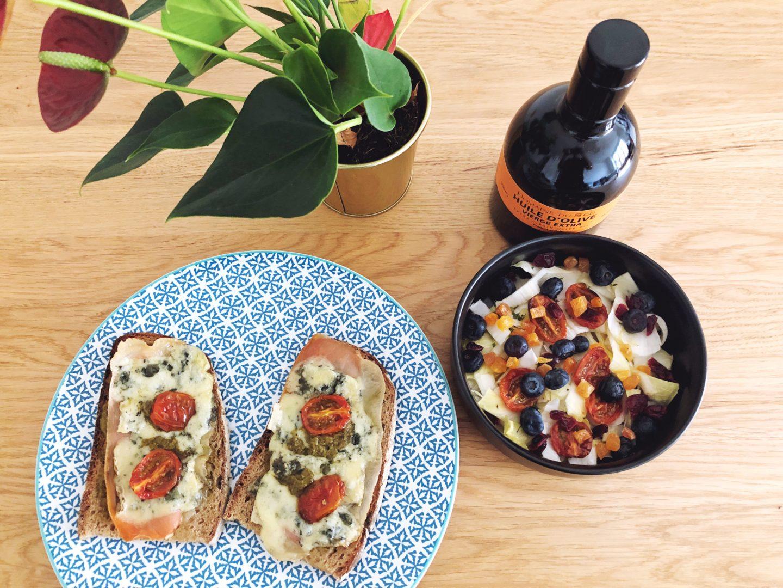 cuisine      salade d u0026 39 endives fruit u00e9e  u0026 ses tartines au bleu