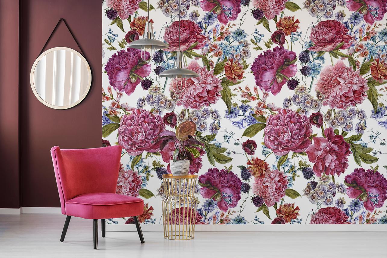 papier peint à grosses fleurs