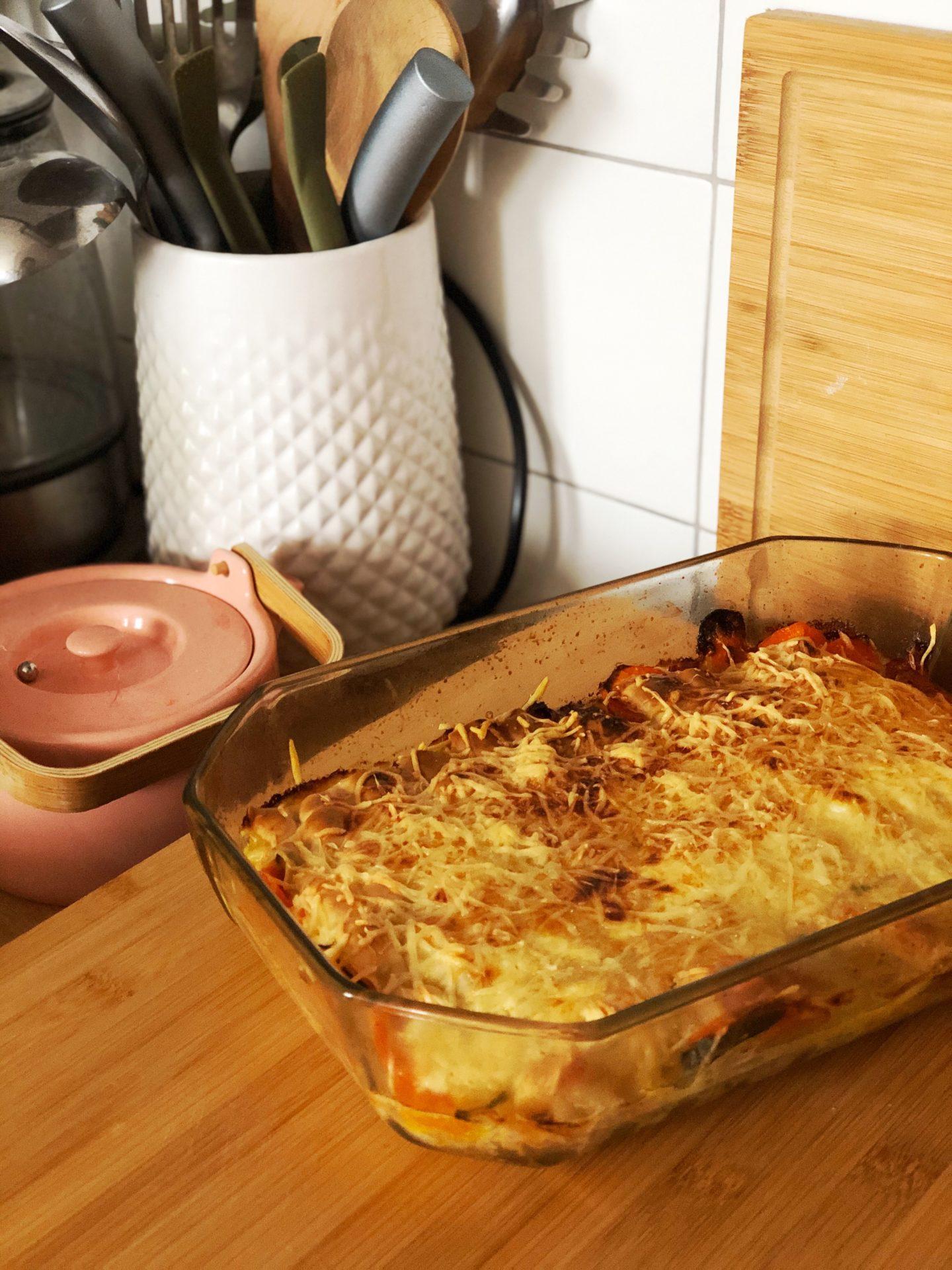gratin de ravioles et légumes
