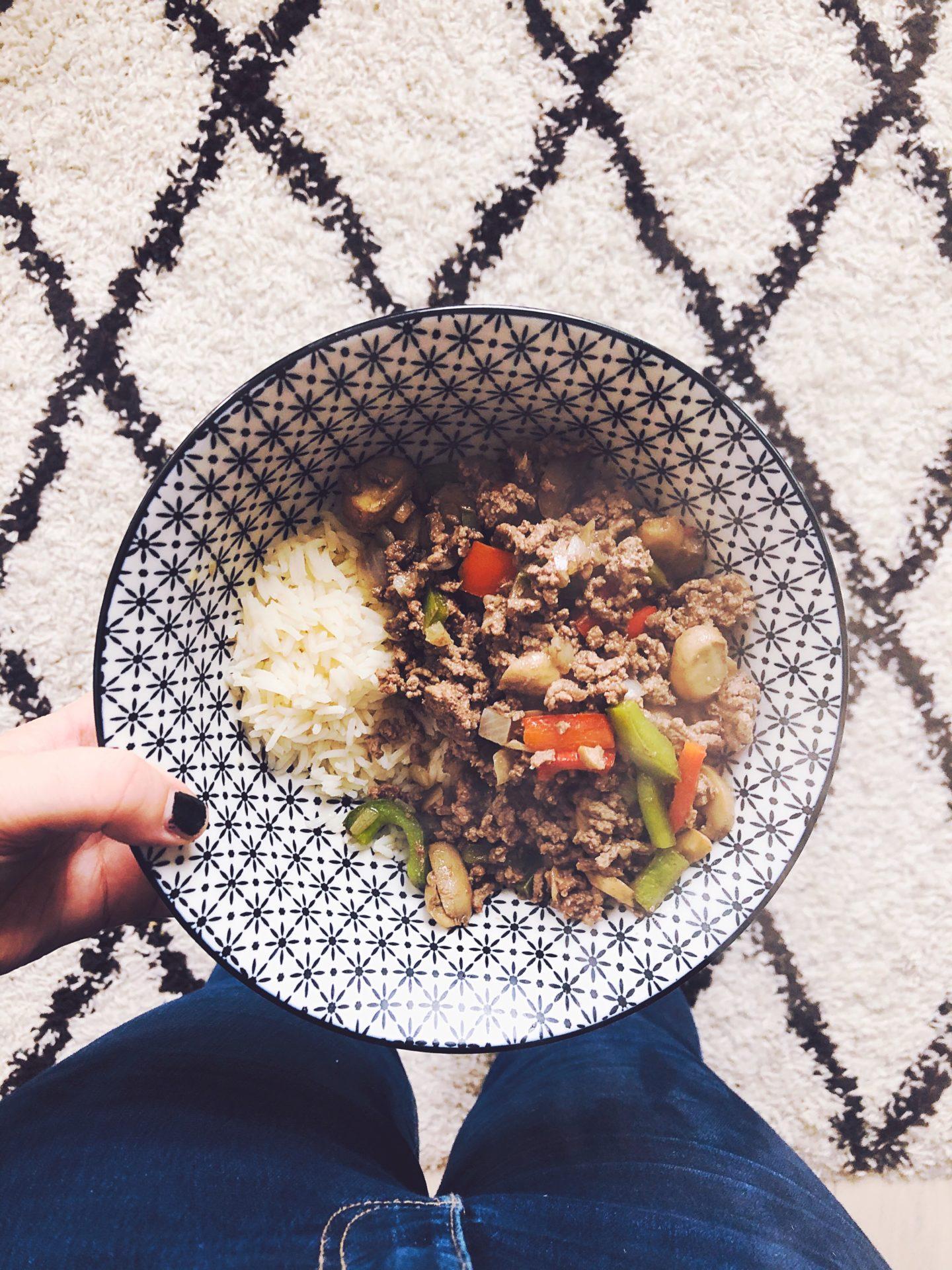 boeuf au soja et riz